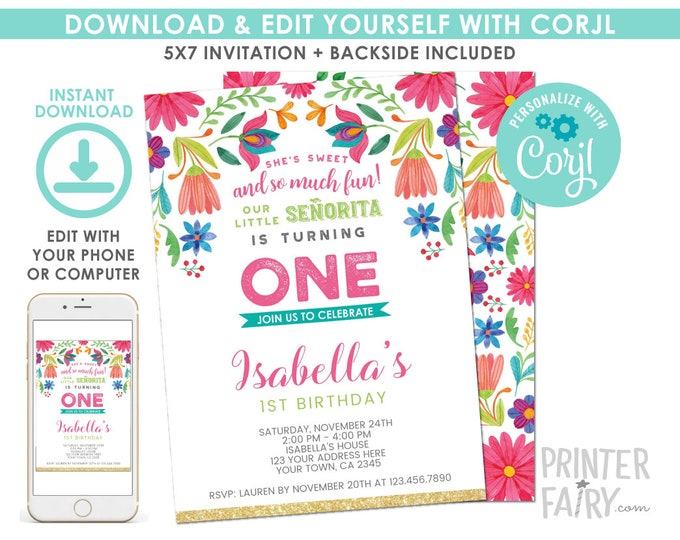 EDITABLE Fiesta 1st Birthday Invitation, Cinco de Mayo Birthday Party, Little Senorita, Any Age, EDIT YOURSELF Digital Invite