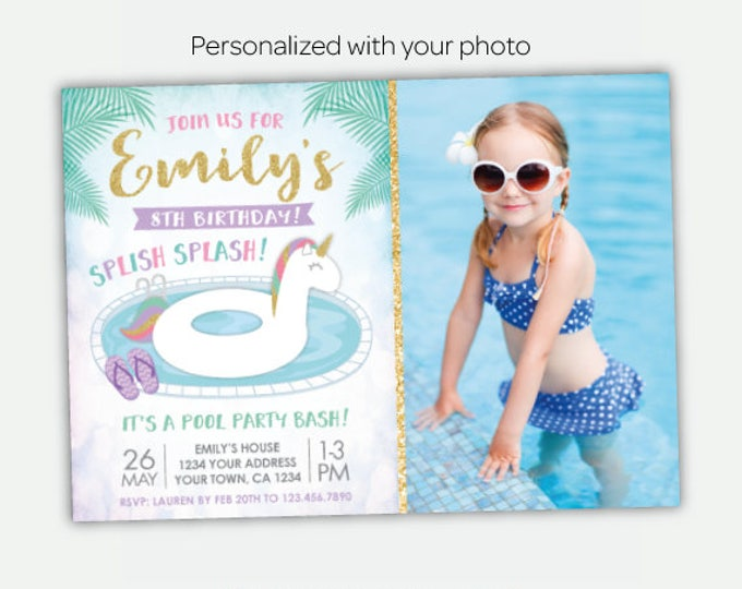 Unicorn Pool Invitation with photo, Pool Party Invite, Summer Birthday Party,  Personalized Invitation, 2 options