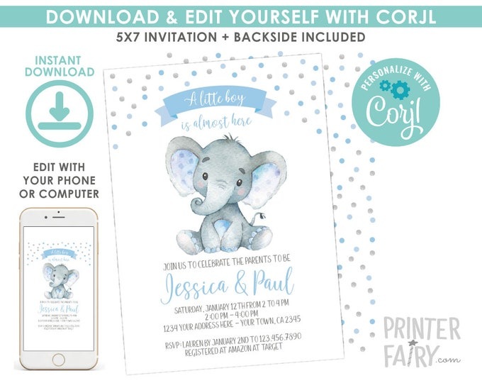 EDITABLE Elephant Baby Shower Invitation, Boy Baby Shower, Jungle Safari Baby Shower Invitation, Polkadots, EDIT YOURSELF Digital Invite