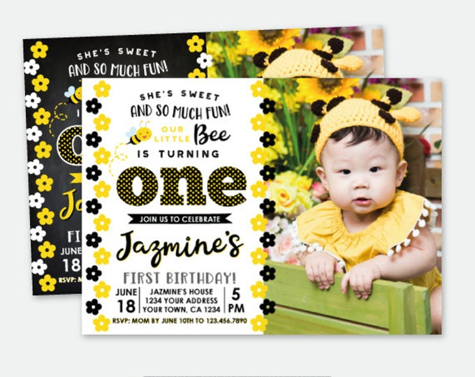 Bee First Birthday Invitation with Photo, Bee Birthday Party, Personalized Digital Invitation, 2 options