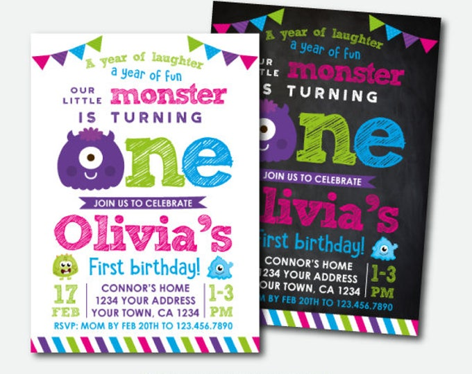 Little Monster First Birthday Invitation, Monster Birthday Invitations, Little Monster 1st Birthday Party, Personalized Invitation