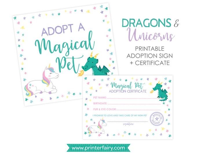 Unicorn and Dragon Adoption Center, Adopt a Dragon Unicorn, Pet Adoption Party, Adoption Certificate & Sign, Printable files, DIGITAL