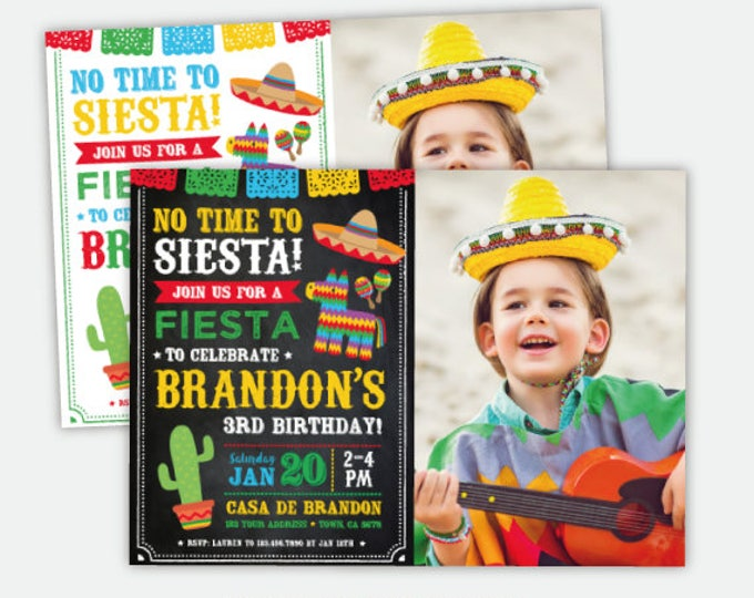 Fiesta Invitation With Photo, Mexican Birthday Invitation, Cinco de Mayo Birthday Party, Personalized Digital Invitation