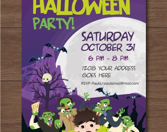 Halloween party invitation - Zombie party invites