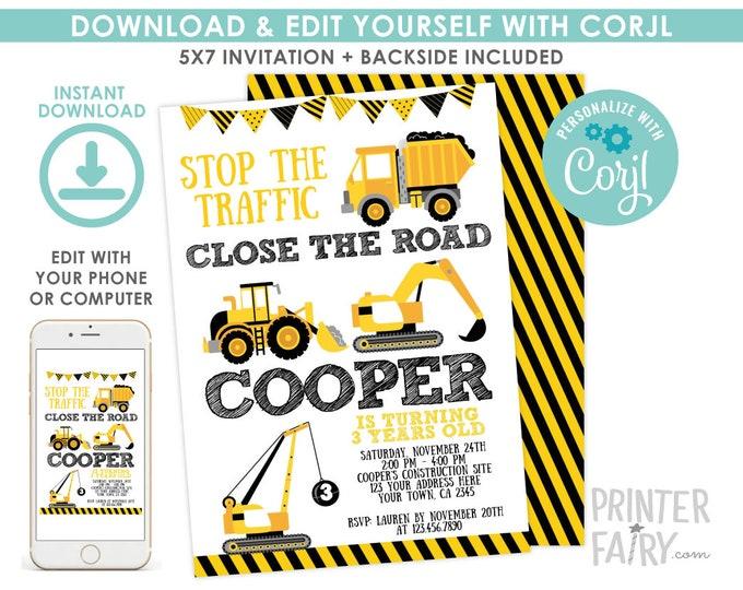 Construction Invitation, EDITABLE construction birthday invitation, Dump Truck Birthday Party, Crane, EDIT YOURSELF Digital Invitation