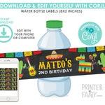Fiesta Water Bottle Labels, EDITABLE, Cinco de Mayo, Fiesta Decorations, EDIT YOURSELF, Water Bottle Labels, Instant Download