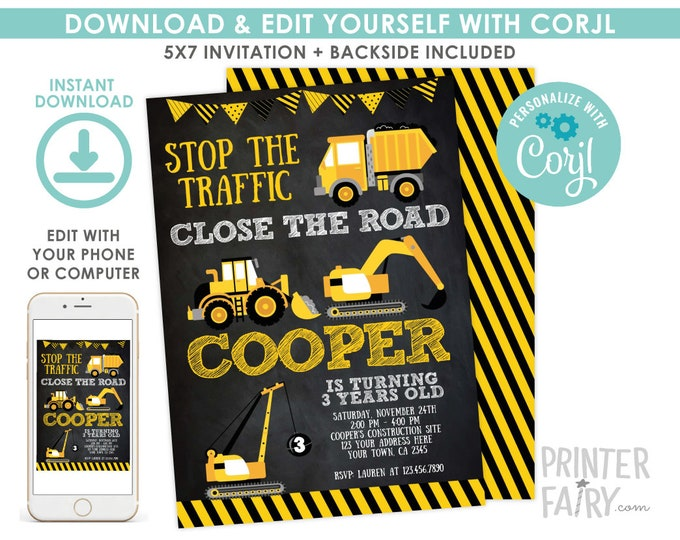 Construction Invitation, EDITABLE construction birthday invitation, Dump Truck Birthday Party, Crane, Black EDIT YOURSELF Digital Invitation
