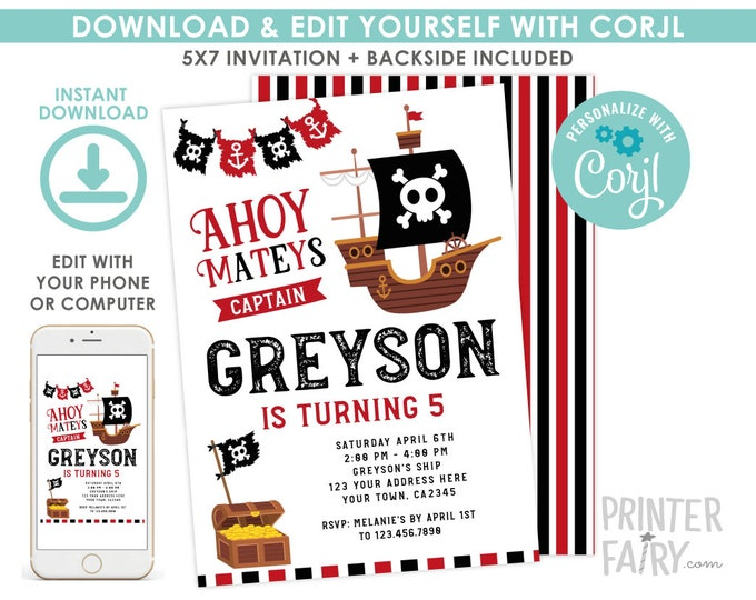 Pirate Invitation, EDITABLE pirate birthday invitation, Pirate Ship Birthday Party, Ahoy Matey, EDIT YOURSELF Digital Invitation