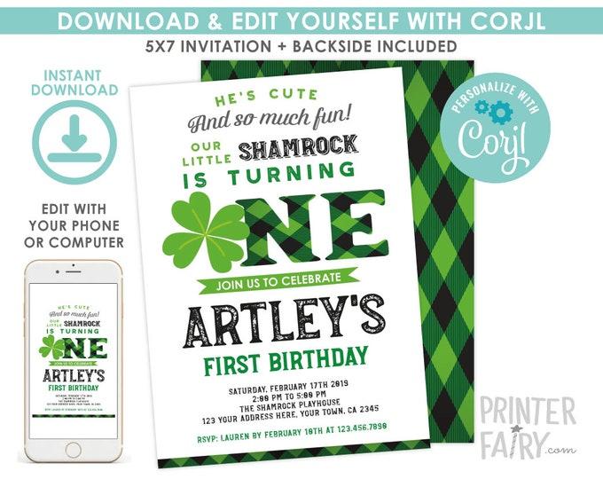 St Patricks Day 1st Birthday Invitation, EDITABLE Invitation, Lucky One Invitation, Shamrock Invitation, EDIT YOURSELF with Corjl