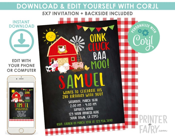 EDITABLE Farm Birthday Invitation, Barnyard Birthday Party, Animal Invitation, Cow, Pig, Sheep, Chalkboard, EDIT YOURSELF Digital Invite