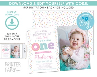 EDITABLE Donut First Birthday Invitation with Photo, Sprinkles 1st Birthday Party, Donut Party, First Birthday EDIT YOURSELF Digital Invite