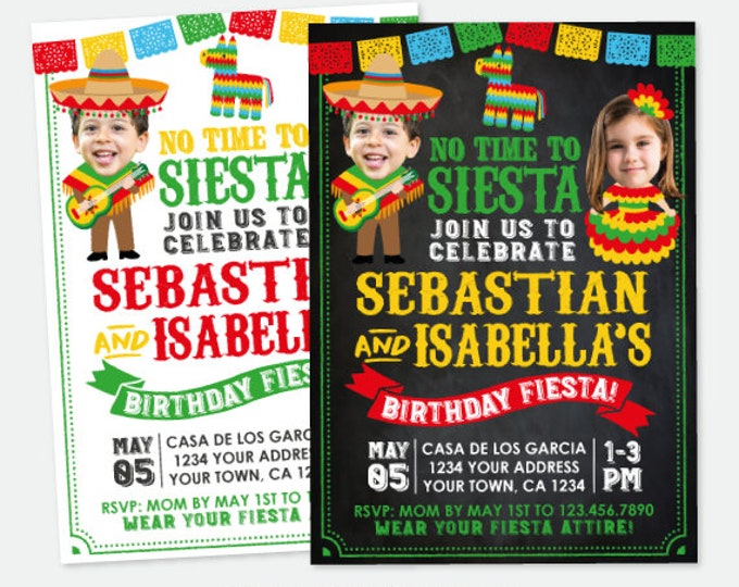 Fiesta Birthday Invitation With Photo, Sibling Birthday Party, Joint Party Invite, Cinco de Mayo, Personalized Digital Invitation