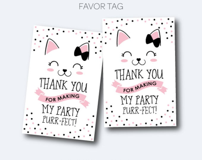 Kitten Favor Tags, Kitty Cat Birthday Party, Printable Thank You Tags, Pet adoption party, Black and Pink, INSTANT DOWNLOAD