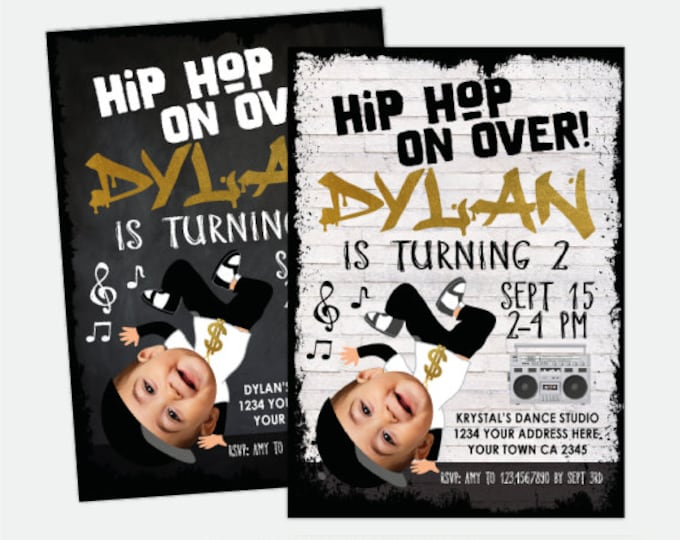 Hip Hop Invitation with Photo, Dance Party Invitation, Hip Hop Party, Music Invitation, Boys Personalized Digital Invitation, 2 options
