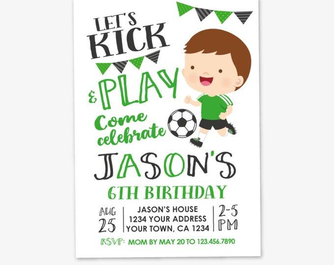 Soccer Boy Birthday Invitation, Soccer Birthday, Sports Invitation, Sports Party, Personalized Printable DIGITAL Invite