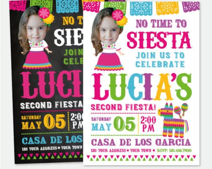 Fiesta Girl Birthday Invitation with Photo, No time to siesta Invitation, Cinco de Mayo, Senorita Personalized Invitation, 2 Options