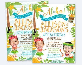 Luau Siblings Birthday Invitation, Hawaiian Joint Birthday Party, Pool Party Birthday, Personalized Digital Invite, 2 options