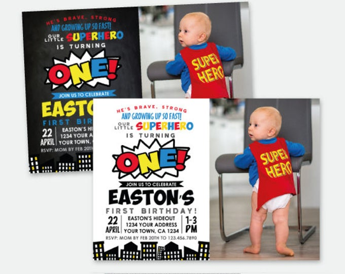 Superhero First Birthday Invitation with picture, ANY AGE, Superheroes Birthday Party, Boys or Girls, Personalized Digital Invite, 2 Options