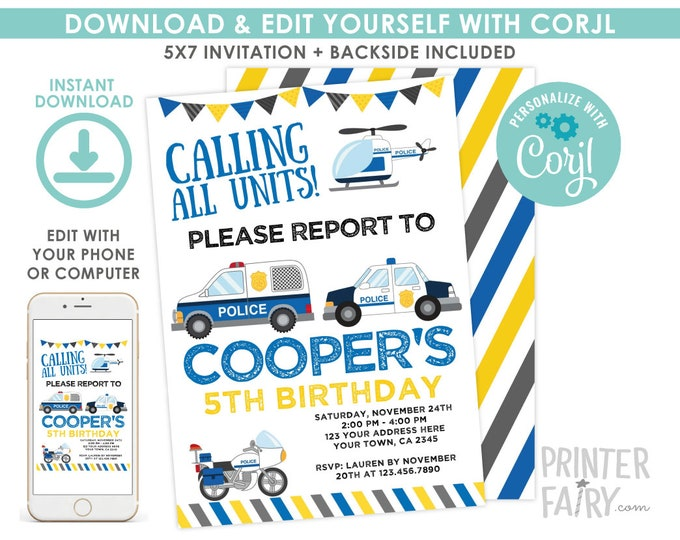 Police Invitation, EDITABLE Cops & Robbers Birthday Party, Police Car Invitation, EDIT YOURSELF with Corjl