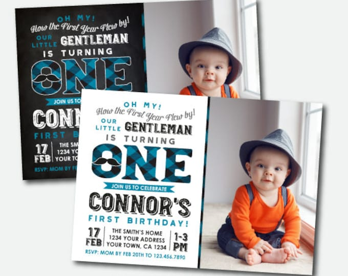 Little Man First Birthday Invitation with Photo, Little Gentleman 1st Birthday Invitation, Mustache Birthday Party, Digital Invite