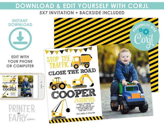 Construction Invitation with Photo, EDITABLE construction birthday Invite, Dump Truck Birthday Party, EDIT YOURSELF Digital Invitation