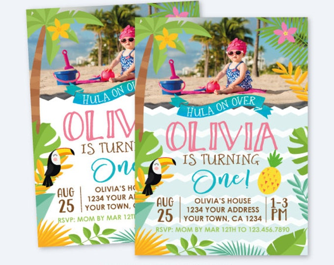 Luau Girl First Birthday Invitation with Horizontal Photo, Hawaiian Birthday Party, Summer Birthday, Personalized Digital Invite, 2 options