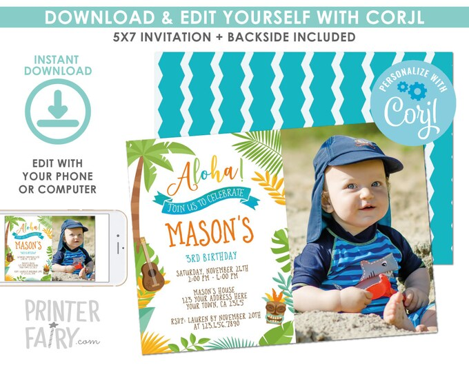 EDITABLE Luau Birthday Invitation with Photo, Beach Birthday Party, Summer Party, EDIT YOURSELF Digital Invite