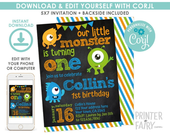 Little Monster Invitation, Monster 1st Birthday Party, Any age, Little Monster Party, EDIT YOURSELF Digital Invite, Instant Download, Black