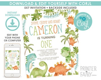 Dinosaur Invitation EDITABLE Birthday Party Any Age EDIT YOURSELF Digital Invite Instant Download