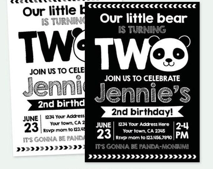 Panda 2nd Birthday Invitation, Panda Birthday party, Girls or Boys, Black white Party, Personalized Digital Invitation, 2 Options