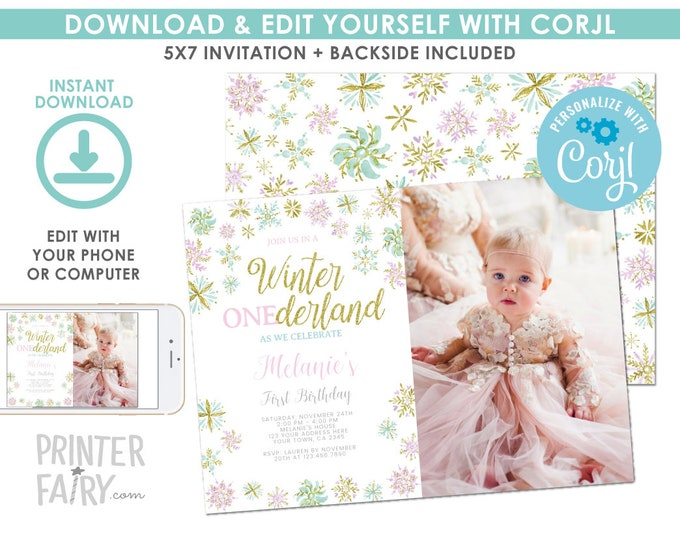 EDITABLE Snowflake Birthday Invitation with Photo, Winter ONEderland Birthday Party, Winter First Birthday EDIT YOURSELF Digital Invite