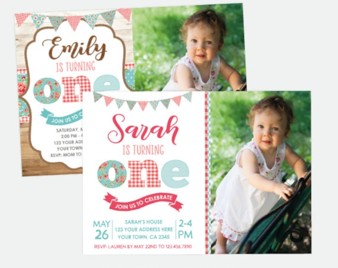 Shabby Chic First Birthday Invitation with Photo, Floral Party, Vintage Birthday Invitation, Summer Party, Personalized Digital Invitation