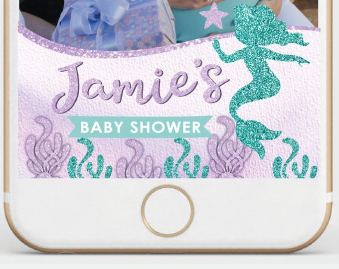 Mermaid Baby Shower Snapchat Filter, Under the Sea Snapchat Filter, Mermaid Baby Shower, Pool party filter, Personalized Filter