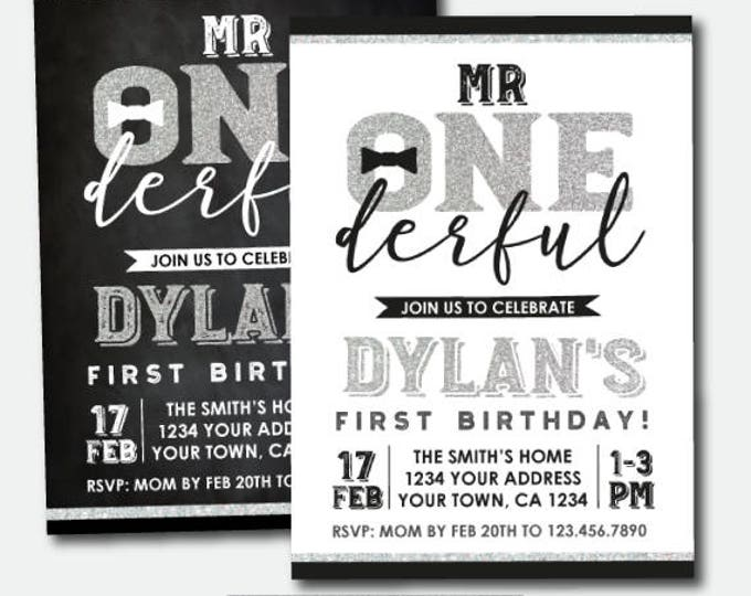 Mr Onederful First Birthday Invitation, Silver & Black, Boys 1st Birthday Party, Personalized Invitations, 2 options