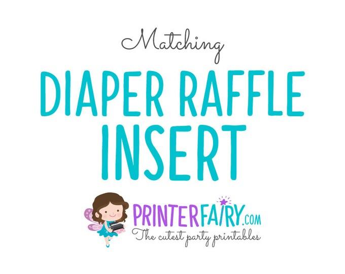 Matching, Diaper Raffle Ticket, Baby Shower Diaper Raffle
