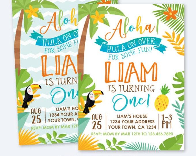 Luau First Birthday Invitation, Hawaiian Birthday Party, Summer Birthday Party, Personalized Digital Invite, Luau Vintage Invite, 2 options