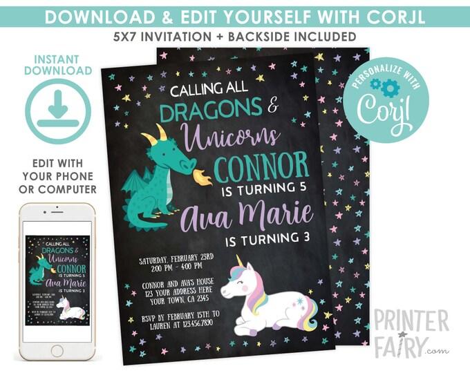 Unicorn and Dragon Invitation, EDITABLE Invitation, Dragon and Unicorn Invitation, Joint Birthday Party, EDIT YOURSELF with Corjl