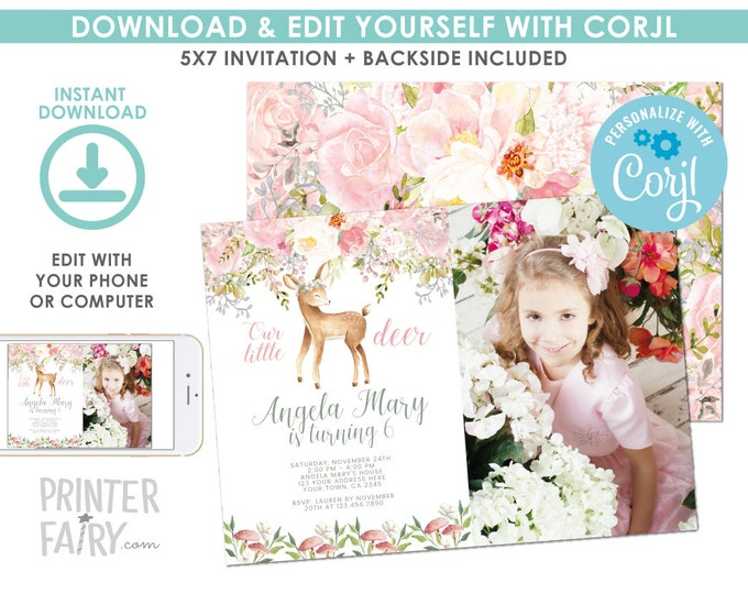 EDITABLE Deer Birthday Invitation with photo, Fawn Invitation, Enchanted Forest Birthday Party, Woodland Invite, EDIT YOURSELF with Corjl
