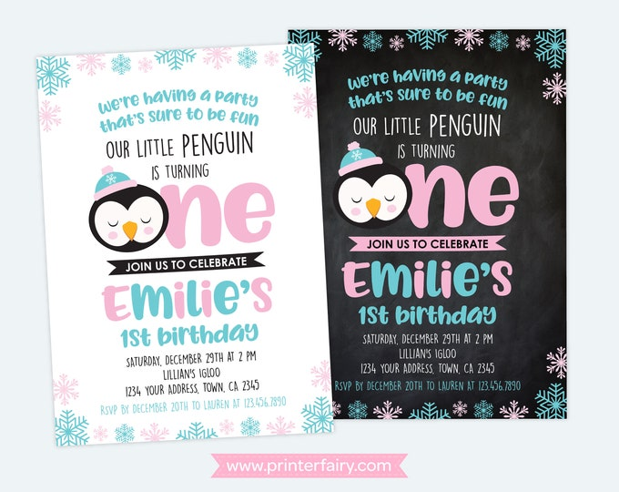 Penguin 1st Birthday Invitation, Winter Birthday Party, Winter Wonderland Invitation, Snowflake Invitation, DIGITAL Personalized, 2 options