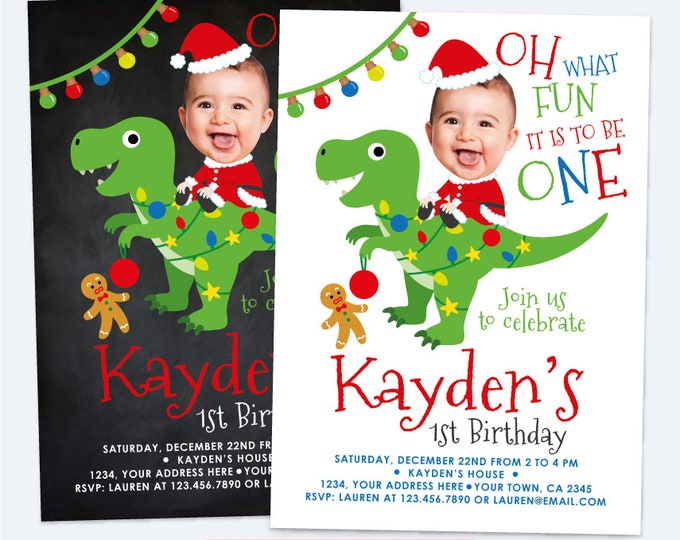 Christmas birthday Invitation with Photo, Dinosaur Christmas Invitation, Personalized DIGITAL Printable Invite, Any age, 2 options