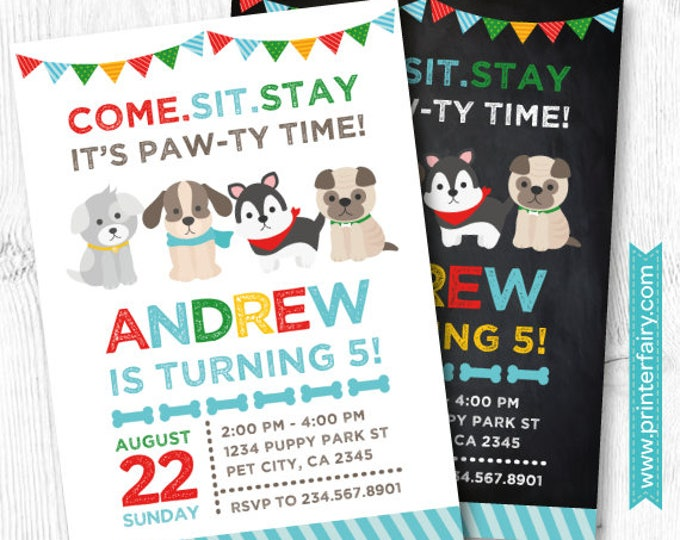 Puppy Invitation,  Puppy Birthday Party, Pet adoption party, Puppy Adoption, Dog Invitation, Digital Invitation, 2 Options
