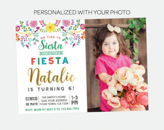Cinco de Mayo Invitation with Photo, Fiesta Birthday Invitation, No time to siesta Invitation , Any Age, Personalized Digital Invitation