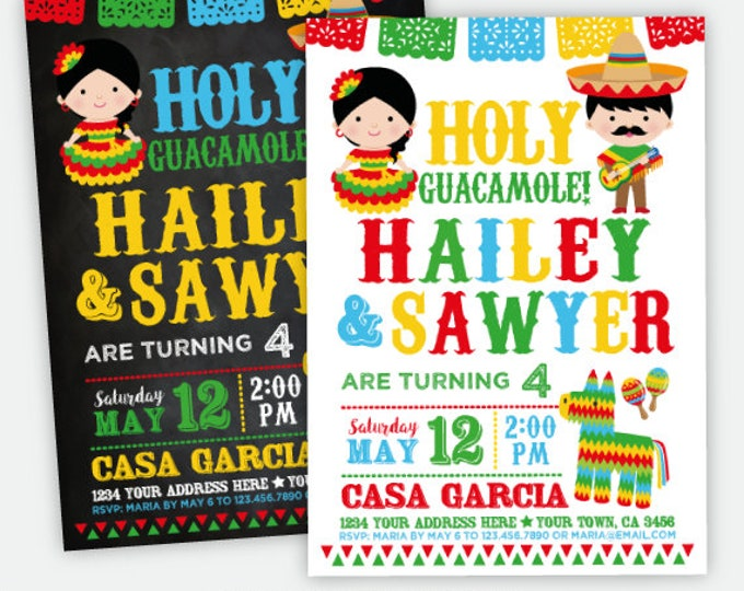 Fiesta Siblings Birthday Invitation, Joint Cinco de Mayo Party Invitation, Mexican Birthday, Holy Guacamole Personalized Digital Invitation