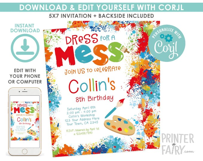 EDITABLE Art Birthday Invitation, Painting Birthday Party, Art Invitation, Paint Party, EDIT YOURSELF Digital Invite