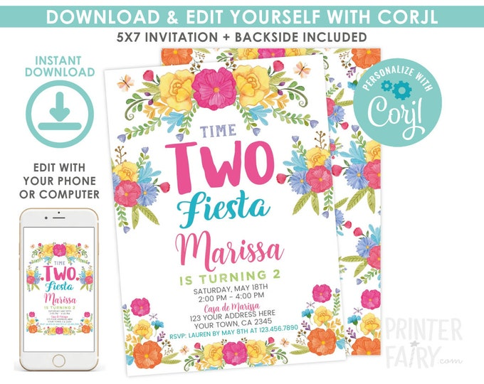 EDITABLE Fiesta Invitation, Fiesta 2nd Birthday Invitation, Cinco de Mayo, Time two fiesta, EDIT YOURSELF Digital Invite