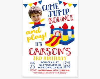 Jump Invitation with Photo, Bounce House Invitation, Trampoline Birthday, Jump Party, Personalized Printable DIGITAL Invite