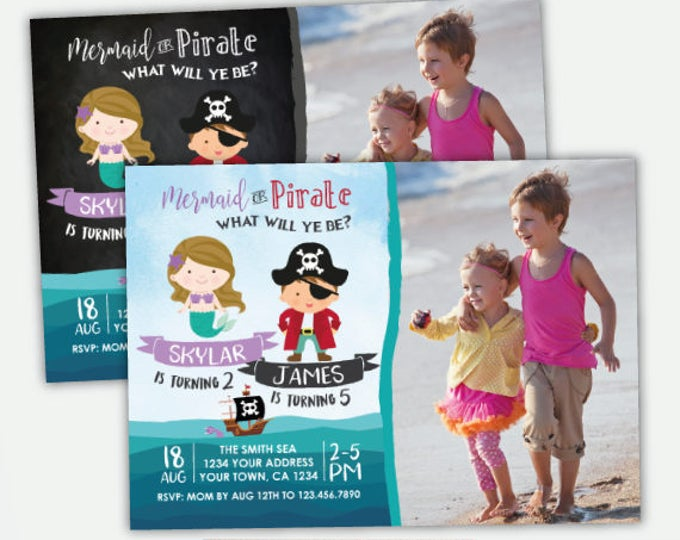 Pirate and Mermaid Invitation with photo, Pirate Party, Mermaid Invitation, Ahoy Matey, Personalized Invitation, 2 options