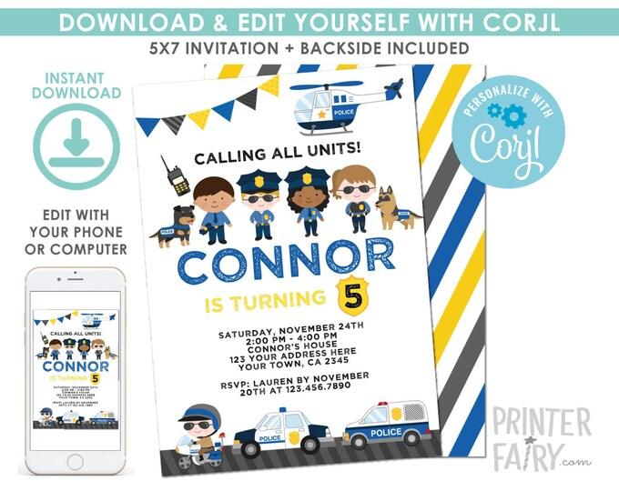 EDITABLE Police Birthday Invitation, Cops & Robbers Birthday Party, Police Car Invitation, EDIT YOURSELF with Corjl