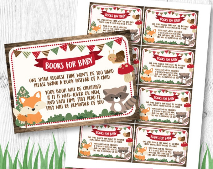 Bring a book baby shower Insert, Woodland Baby Shower Games, INSTANT DOWNLOAD