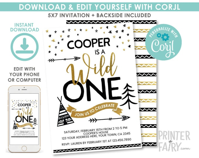 EDITABLE Wild One First Birthday Invitation, Wild One Party, 1st Birthday Invitation, EDIT YOURSELF Digital Invite
